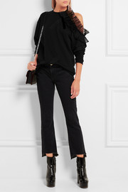 Christopher Kane Cutout ruffle-trimmed cotton-jersey sweatshirt