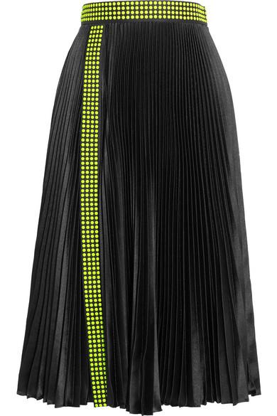 Christopher Kane - Studded Pleated Satin Skirt - Black