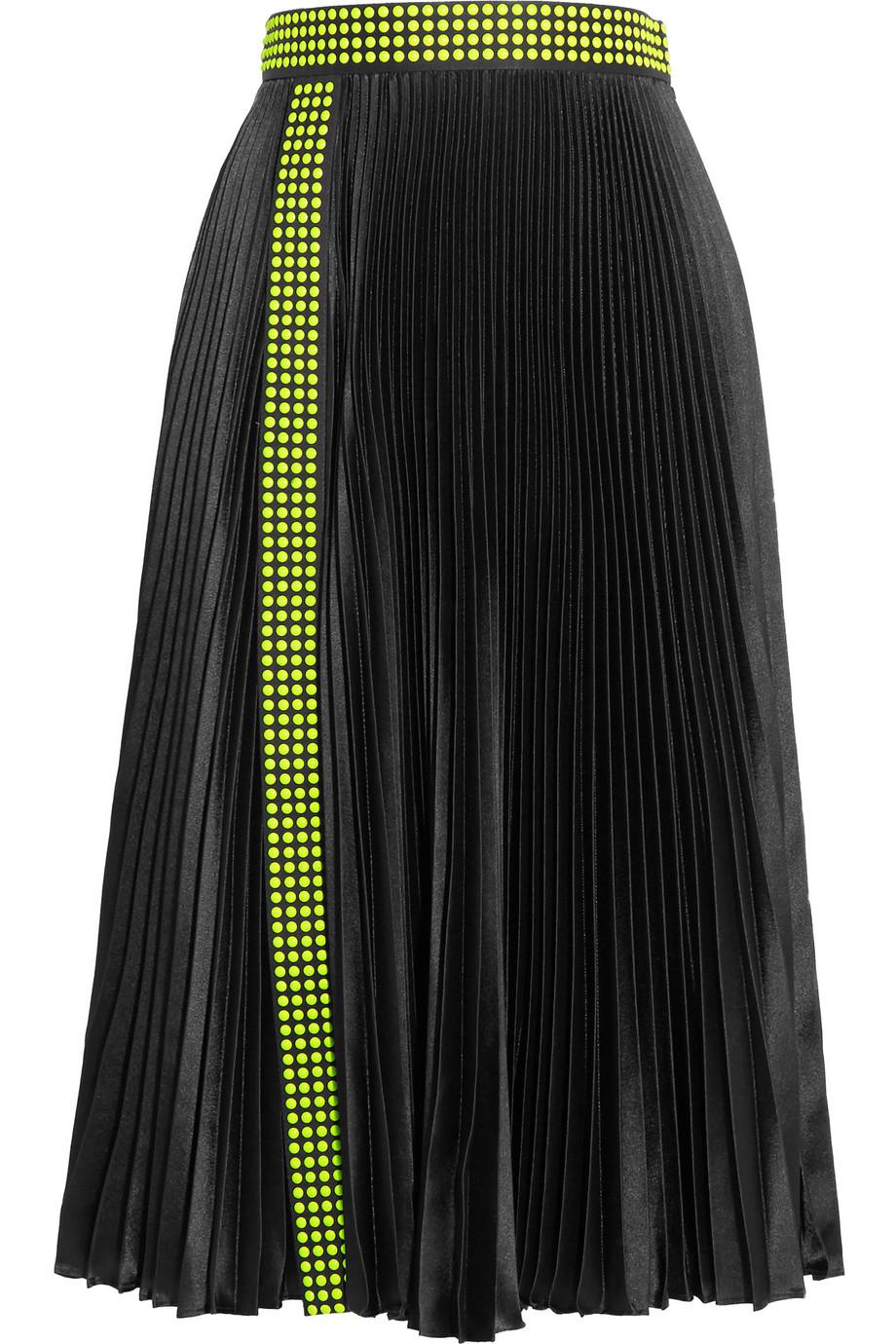 Studded Pleated Satin Skirt, Christopher Kane, Size: 44