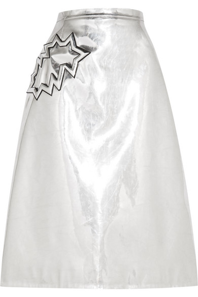 Christopher Kane - Metallic Pvc Midi Skirt - Silver