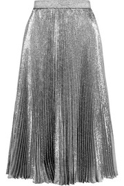 Christopher Kane Pleated silk-blend lamé skirt