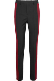 Satin-paneled wool-crepe tapered pants