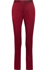 Crepe de chine tapered pants