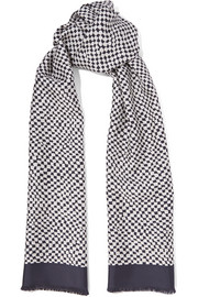 Printed silk-twill and wool scarf