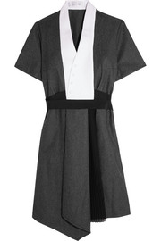Carven Crepe and chiffon-paneled wool-felt mini dress