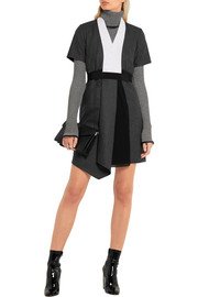 Crepe and chiffon-paneled wool-felt mini dress