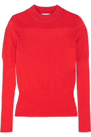 Carven Pointelle-knit wool-blend sweater