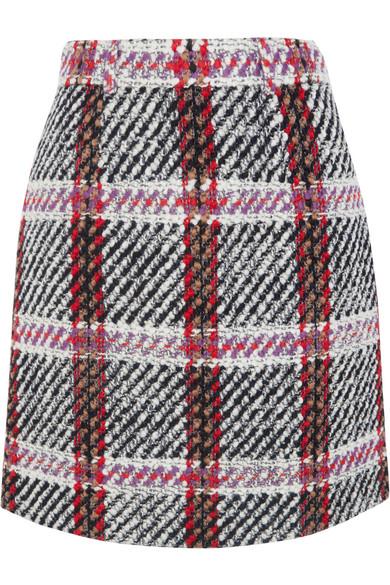 Carven - Tartan Bouclé-tweed Mini Skirt - Gray