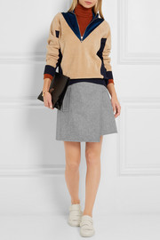 Carven Wrap-effect wool-blend felt mini skirt