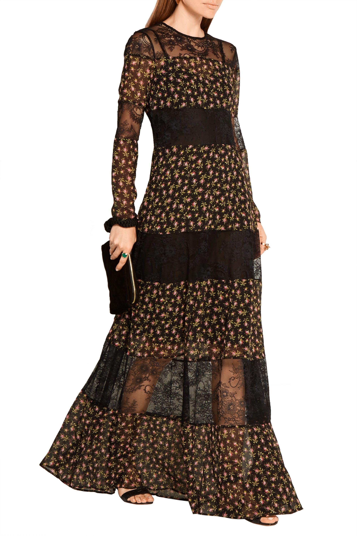 Philosophy di Lorenzo Serafini Paneled floral-print silk-chiffon and lace maxi dress