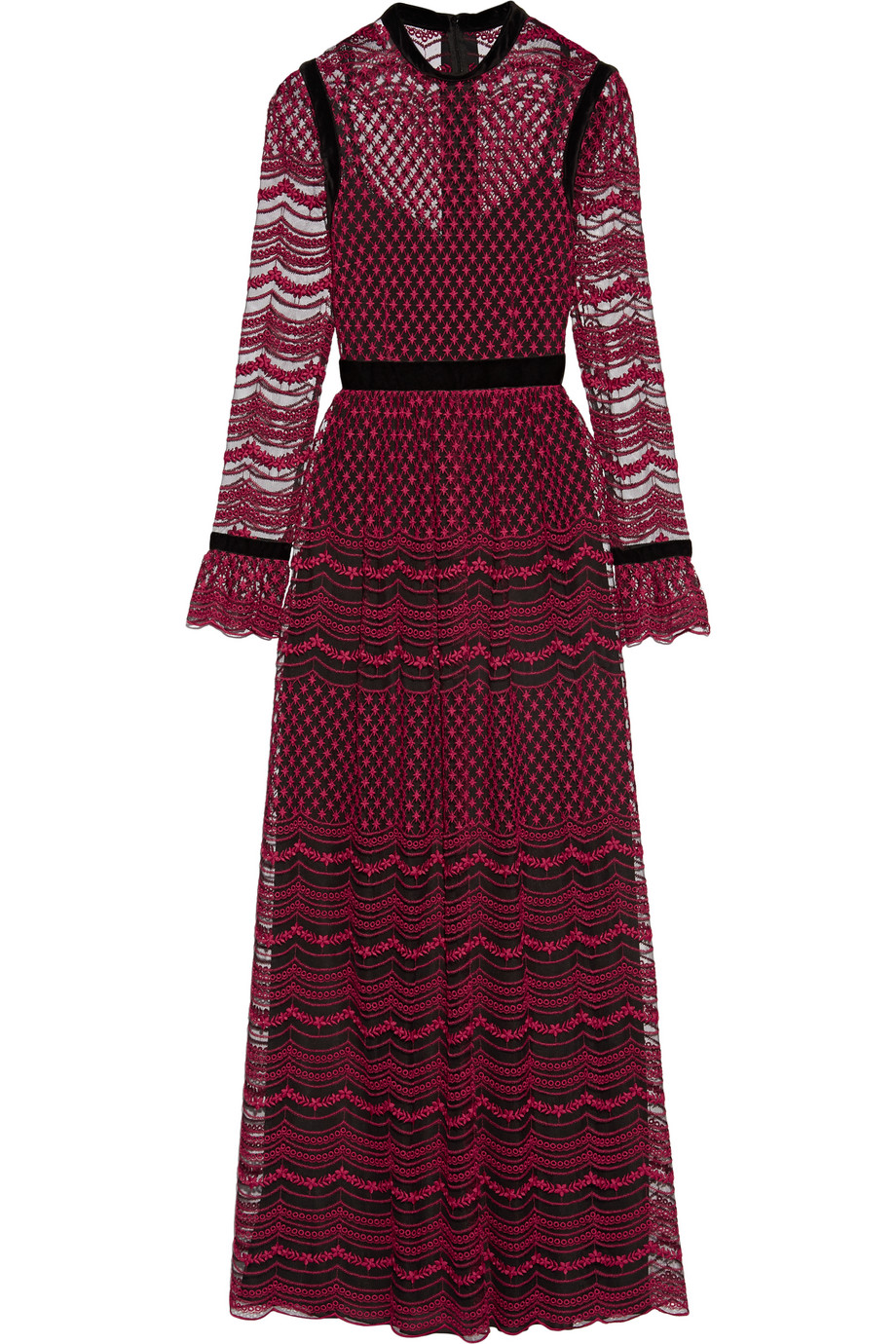 Velvet-Trimmed Embroidered Tulle Maxi Dress, Claret, Women's - Embroidered, Size: 48