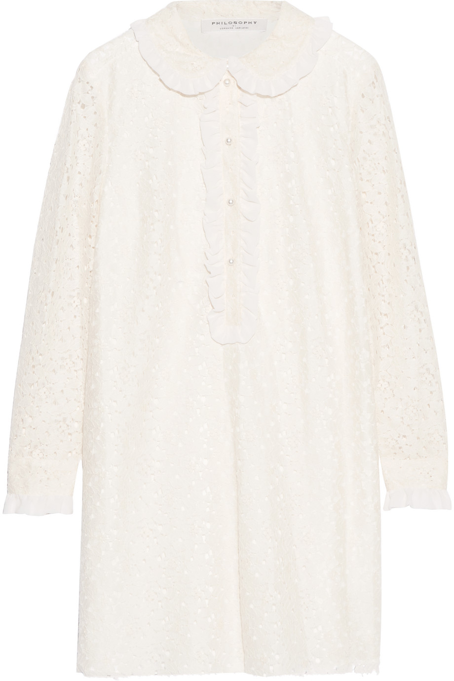 Ruffled Chiffon-Trimmed Corded Lace Mini Dress, Cream, Women's, Size: 38