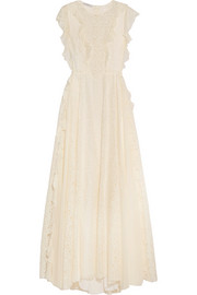 Georgette-ruffled lace gown