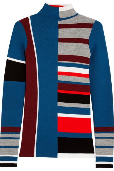KENZO - Striped Wool Turtleneck Sweater - Blue