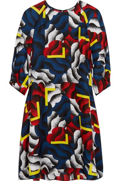 KENZO - Printed Silk Mini Dress - Storm blue