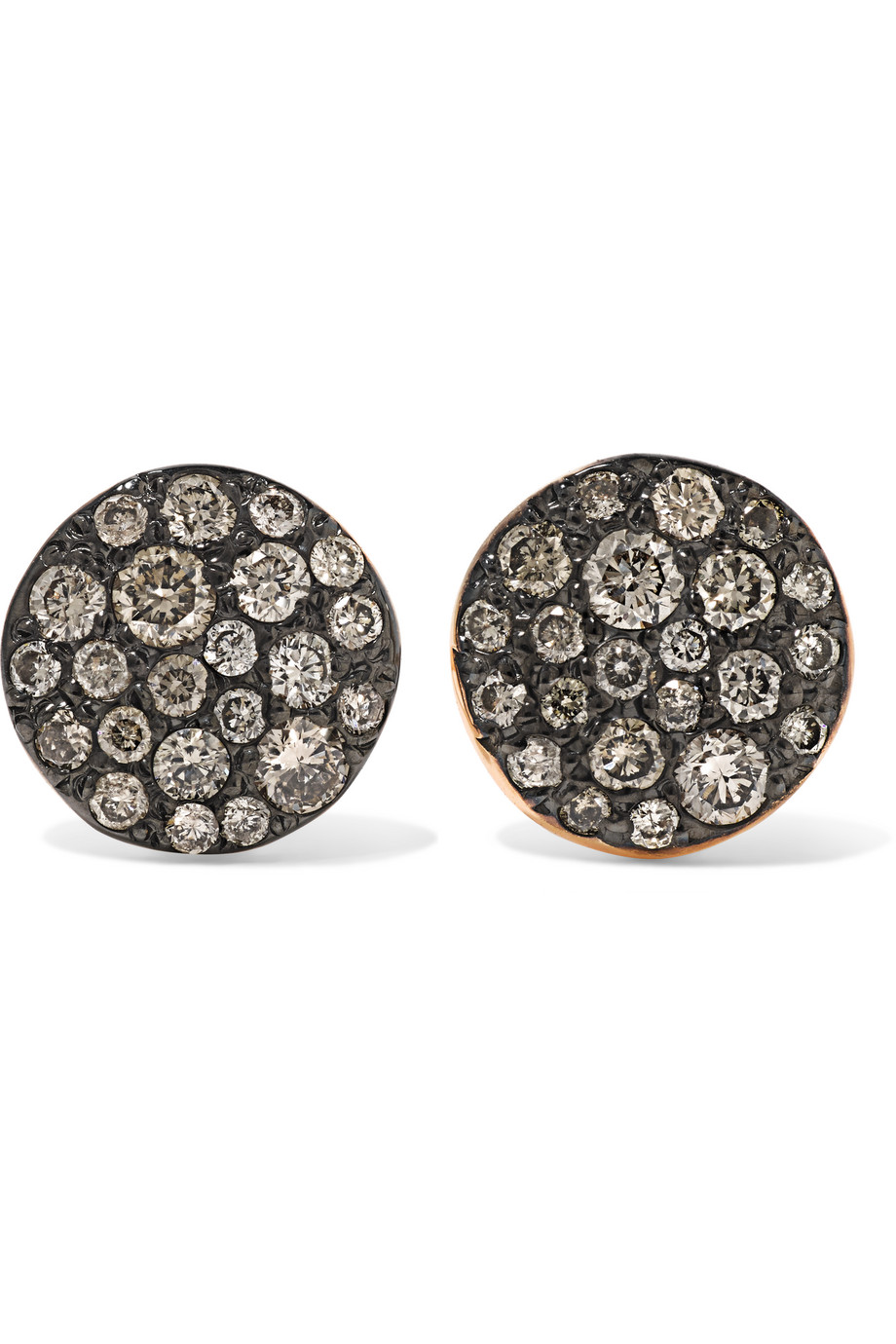 Sabbia 18-Karat Rose Gold Diamond Earrings, Rose Gold/Black, Women's