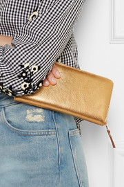 Comme des Garçons Metallic textured-leather continental wallet