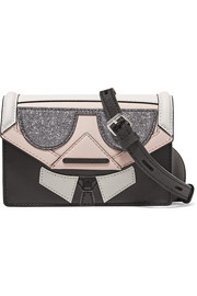 Kocktail Karl paneled glittered textured-leather shoulder bag