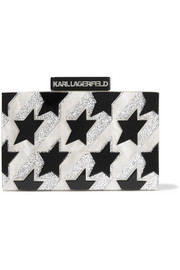 Karl Lagerfeld Startooth glittered acrylic clutch