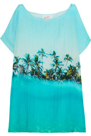 Paradise printed cotton and silk-blend coverup