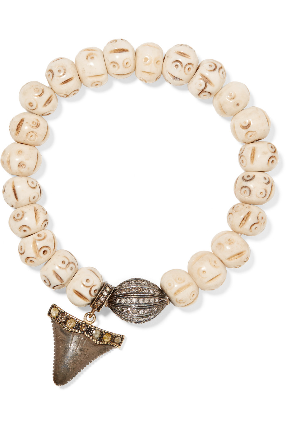 Loree Rodkin Bone, 18-Karat Gold, Oxidized Silver and Diamond Bracelet, White, Women's