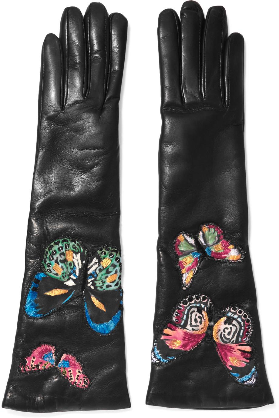 Valentino Butterfly-Appliquéd Leather Gloves, Black, Women's, Size: 8.5