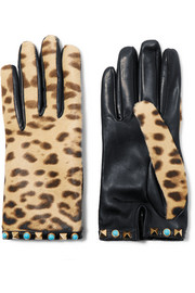 Valentino Embellished leopard-print calf hair and leather gloves