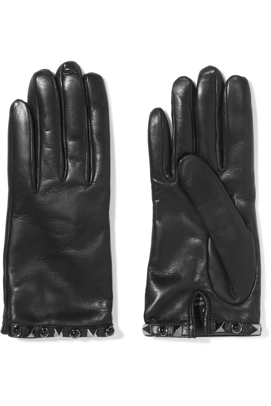Valentino Embellished Leather Gloves, Black, Women's, Size: 7