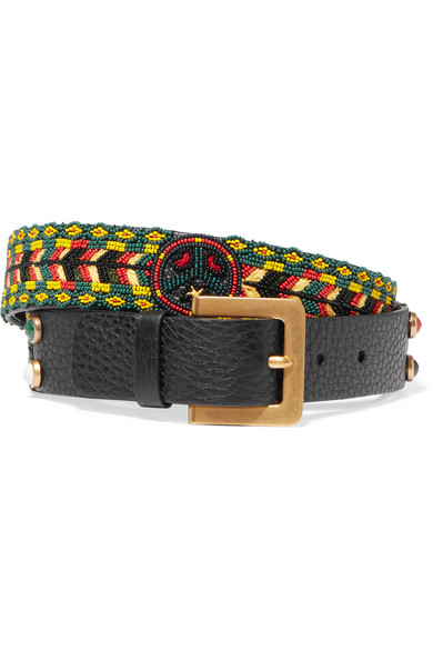 Valentino - Beaded Textured-leather Belt - Black