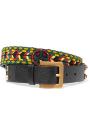 Beaded textured-leather belt