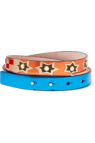 Valentino - Embellished Metallic Textured-leather And Suede Belt - Blue