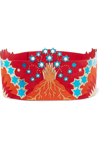 Embellished metallic leather and suede waist belt
