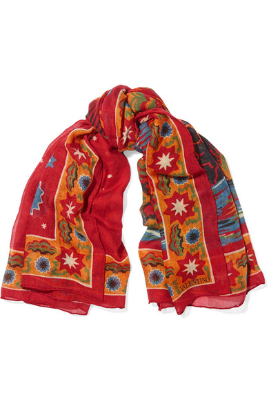 Valentino - Printed Cashmere And Silk-blend Scarf - Red
