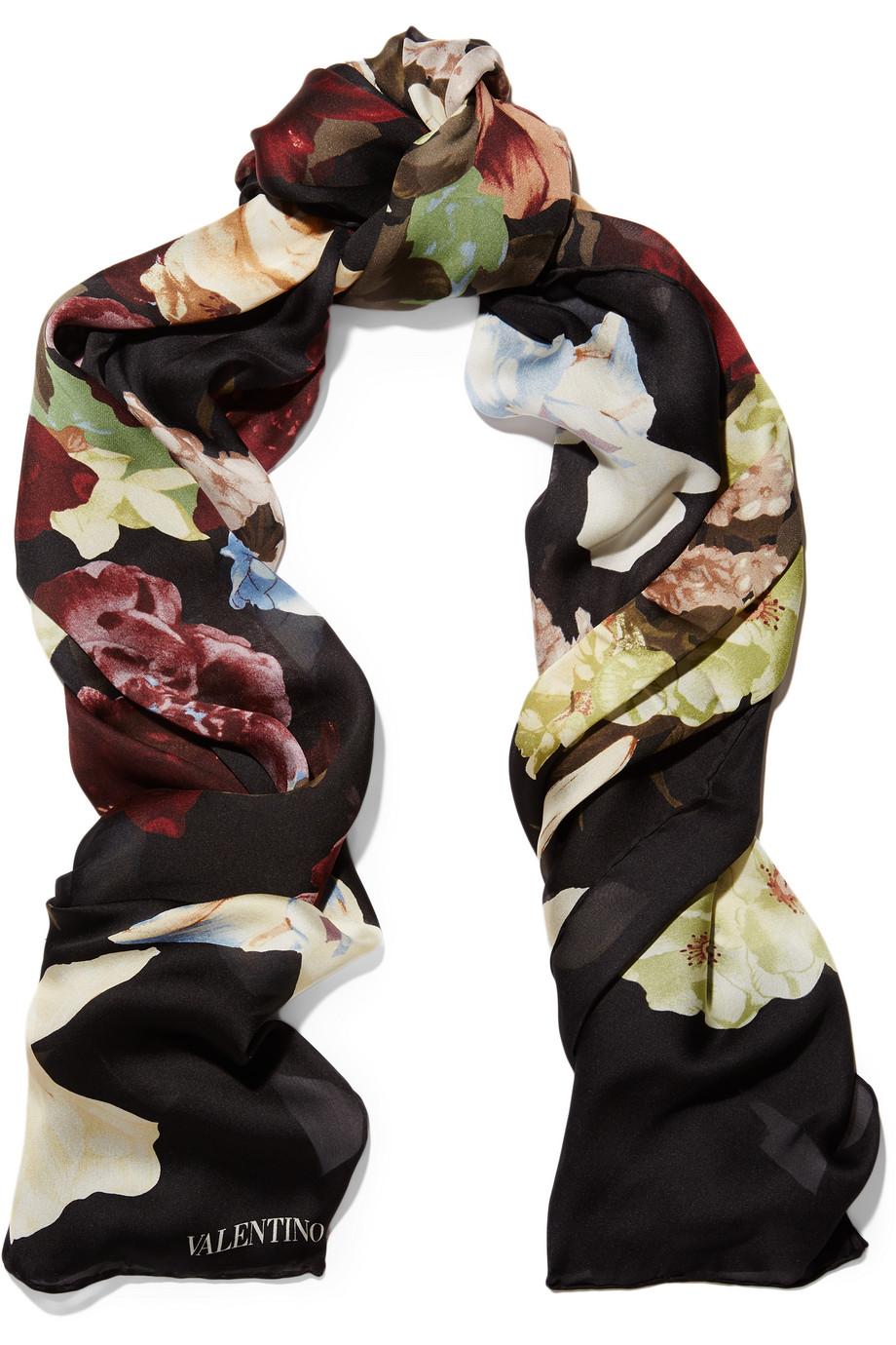 Valentino Floral-Print Silk-Chiffon Scarf, Black, Women's