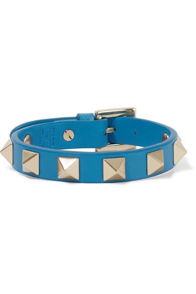 Valentino - The Rockstud Embellished Leather Bracelet - Azure