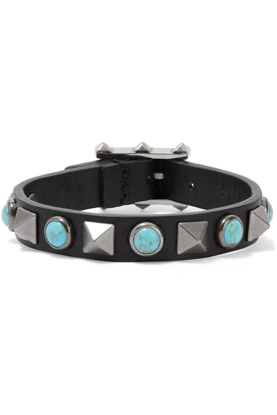 Valentino The Rockstud Rolling Embellished Leather Bracelet, Black/Blue, Women's