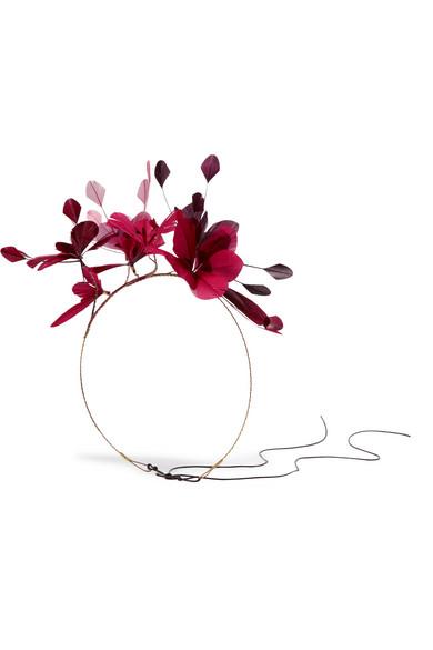 Valentino - Gold-tone Feather Headband - Burgundy