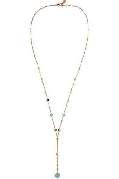 Valentino - Gold-tone Multi-stone Necklace - Turquoise