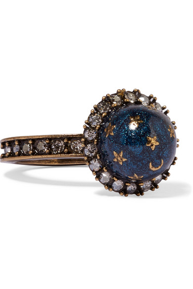 Valentino - Gold-plated, Swarovski Crystal And Enamel Ring - Blue