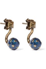 Cosmic Planet gold-tone earrings