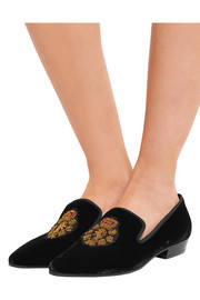 Saint Laurent Deven embroidered velvet loafers