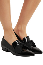 Deven grosgrain-trimmed patent-leather loafers