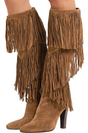 Saint Laurent Lily fringed suede knee boots