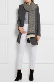 Alena herringbone wool and cashmere-blend scarf