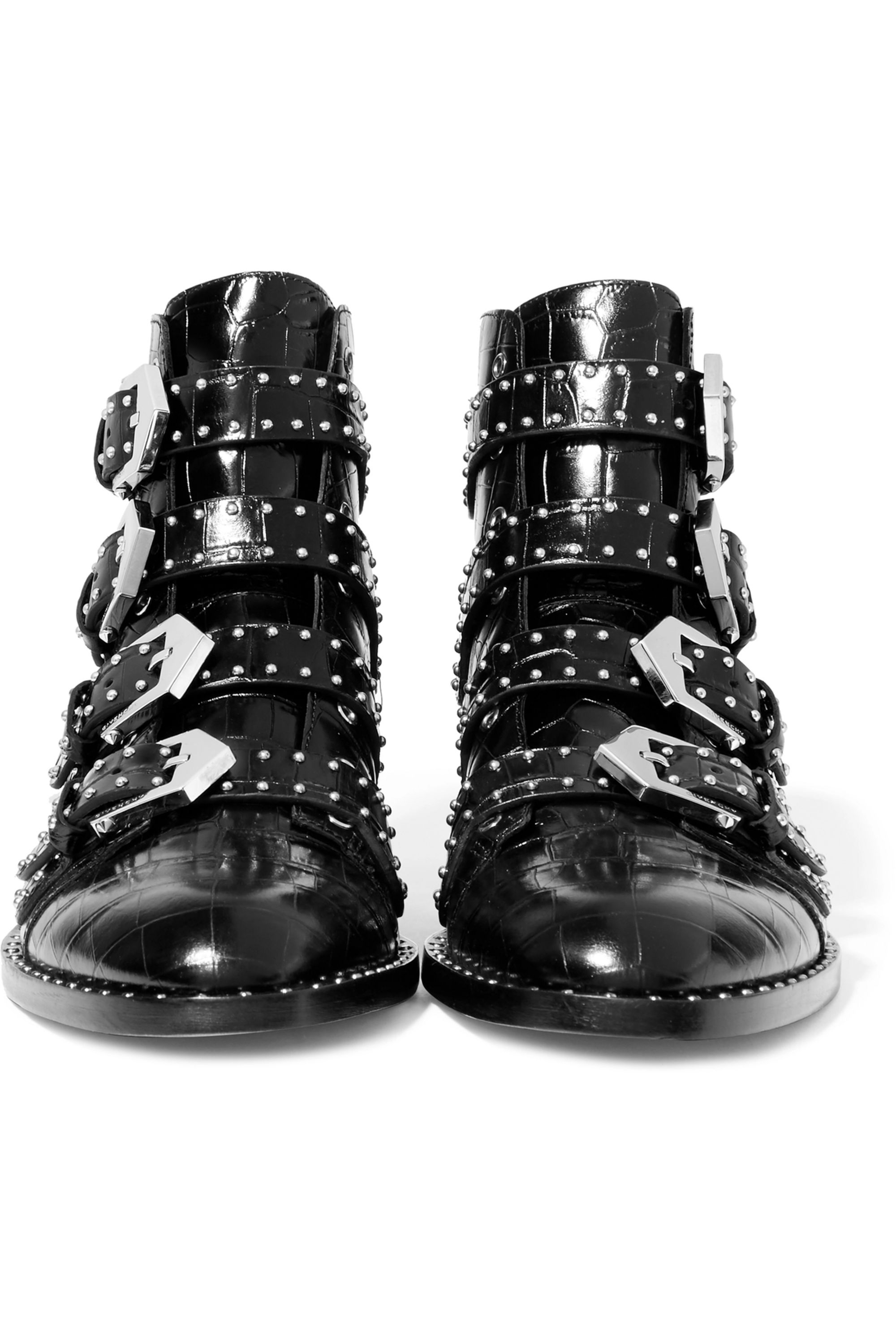 Givenchy Studded ankle boots in black croc-effect glossed-leather