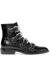 Studded ankle boots in black croc-effect glossed-leather