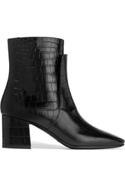 Ankle boots in black croc-effect leather