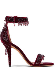 Crystal-embellished sandals in burgundy velvet