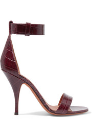 Sandals in burgundy croc-effect leather