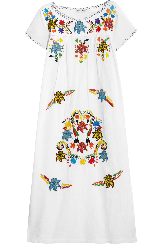 Sensi Studio Embroidered textured-cotton midi dress